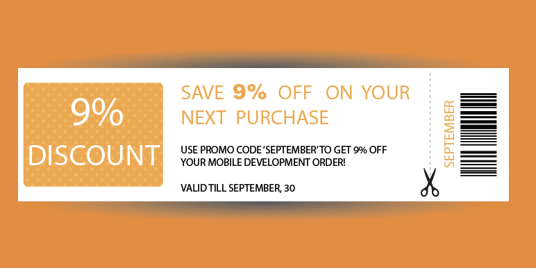 SALE: Order Mobile Development with 9% DISCOUNT!