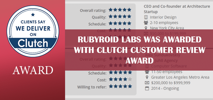 Rubyroid Labs was Awarded with Clutch Customer Review Award