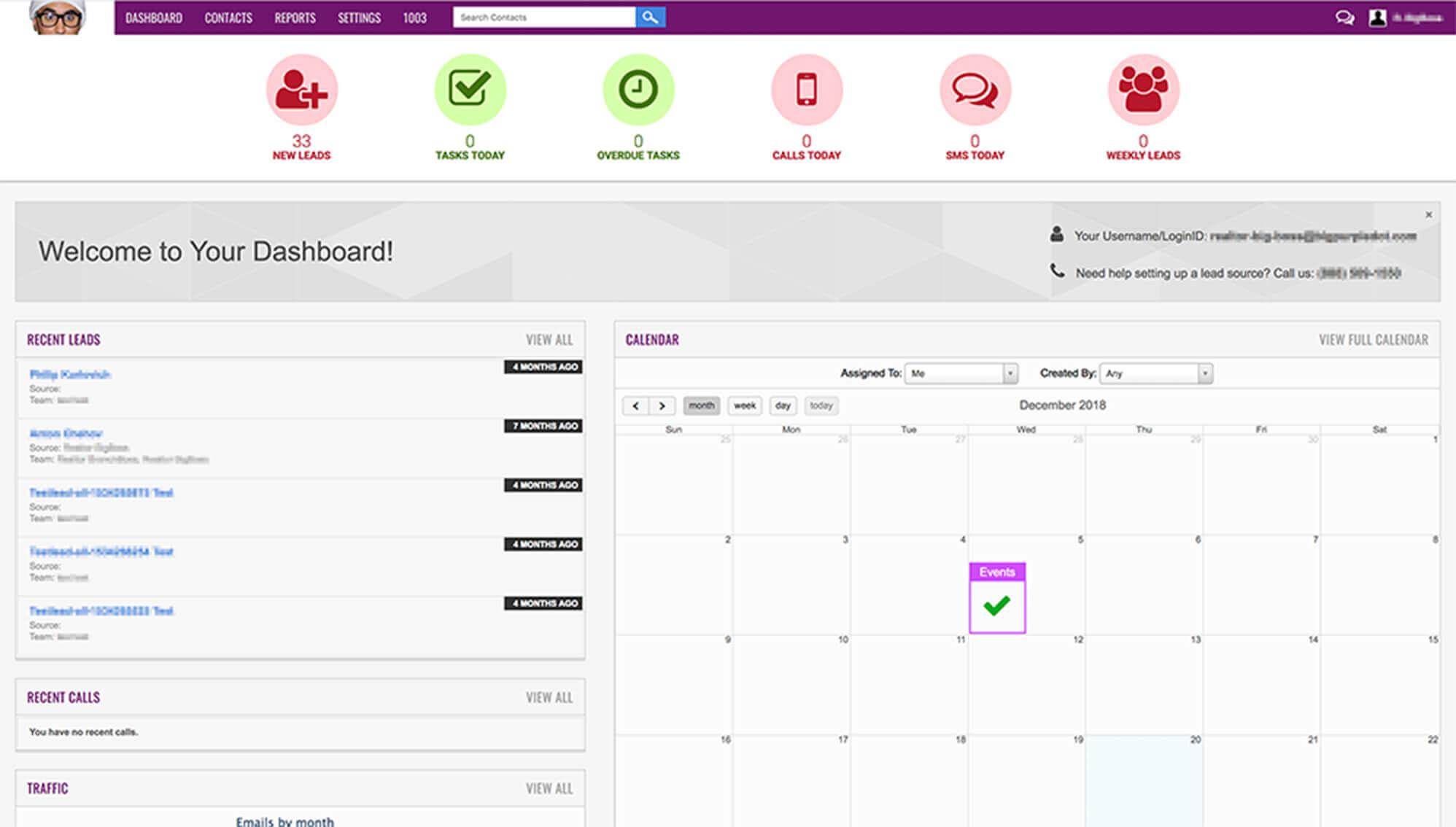 big purple dot CRM interface