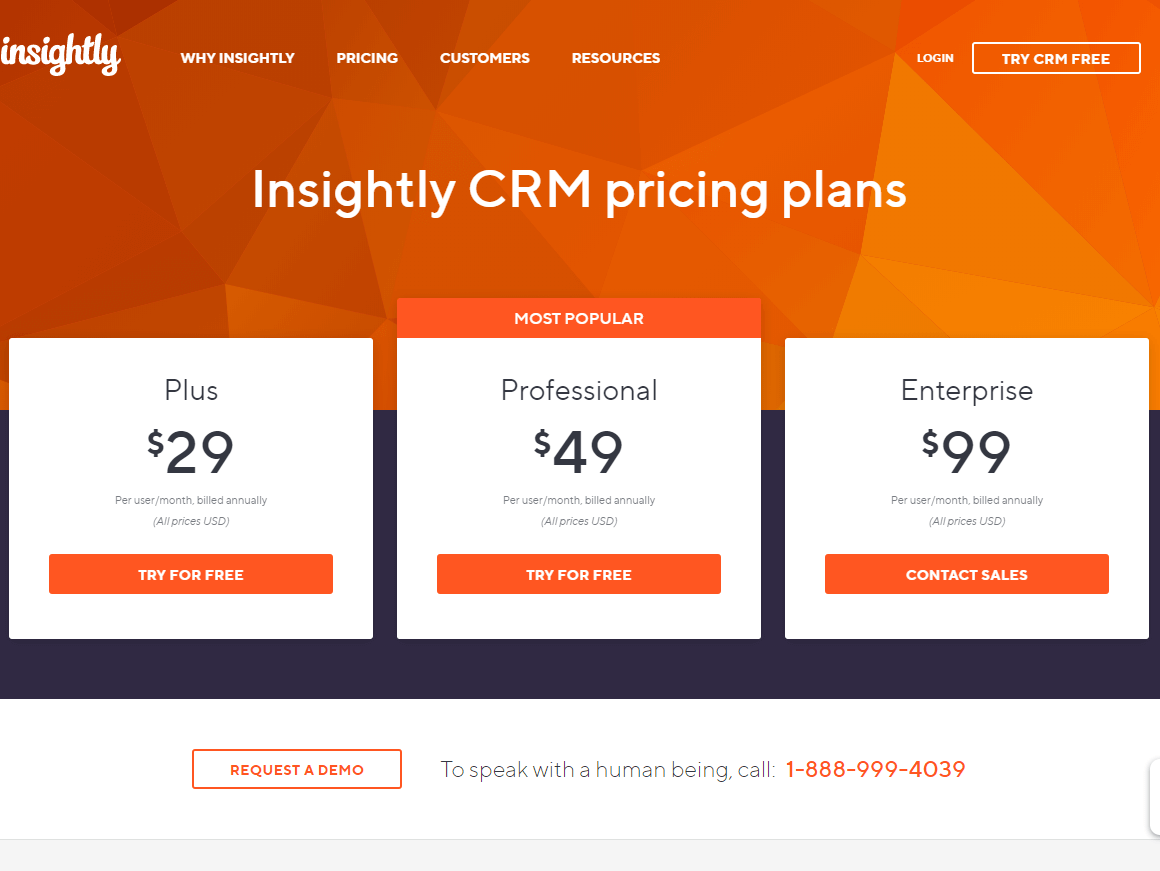 insightly crm pricing plans